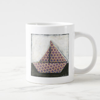 Origami Sailboat on Star Design Paper Large Coffee Mug