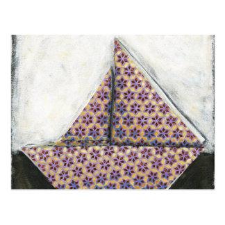Origami Sailboat on Star Design Paper Postcard
