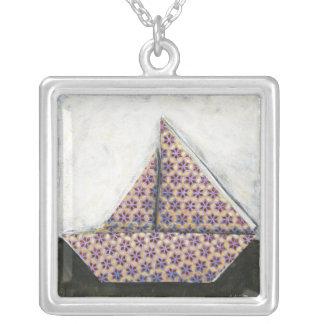 Origami Sailboat on Star Design Paper Square Pendant Necklace