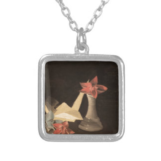 Origami Still Life Silver Plated Necklace