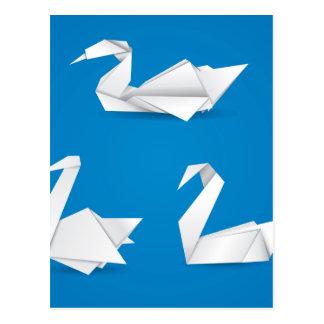 Origami swans postcard