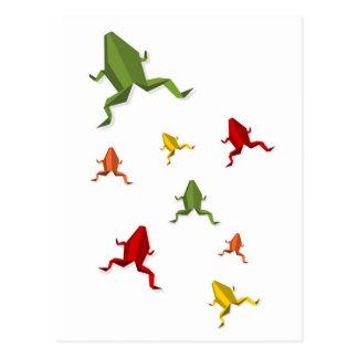 origami vibrant colors frog postcard