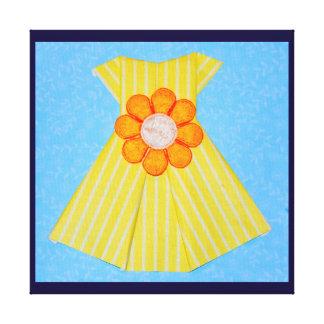 ORIGAMI YELLOW DRESS JAPANESE PAPER ART CANVAS PRINTS
