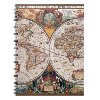 Original 17th Century World-Map latin 1600s Notebook
