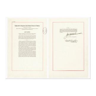 ORIGINAL 25th Amendment U.S. Constitution Stretched Canvas Prints