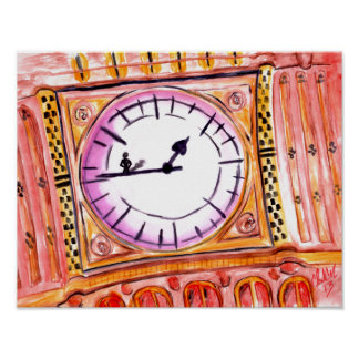 Original abstract clock design bright color poster