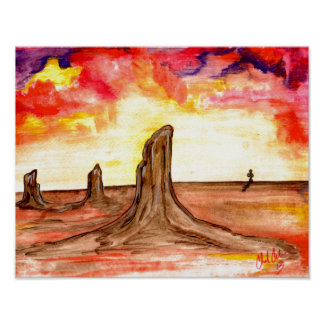 Original abstract desert design bright poster
