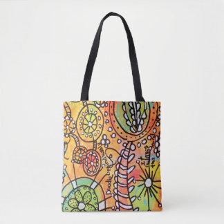 Original Abstract Doodle Art Tote Bag Bright Color