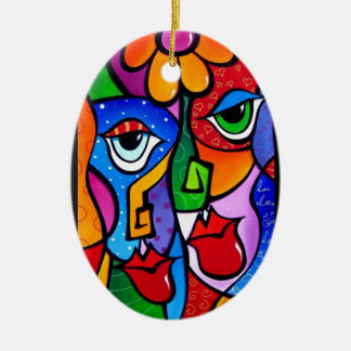 Original-Abstract-Pop-Art-Satisfactio Ceramic Oval Decoration