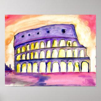 Original abstract Rome design bright color poster