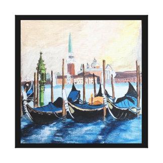 Original Acrylic Painting of Gondolas by St Mark's Canvas Print