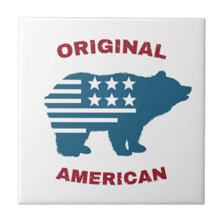 Original American | United States Typography Bear Small Square Tile