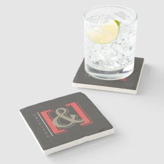 original ampersand marble coaster w/cork (dark) stone beverage coaster