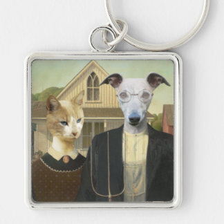 Original Art Cat and Dog Keychain