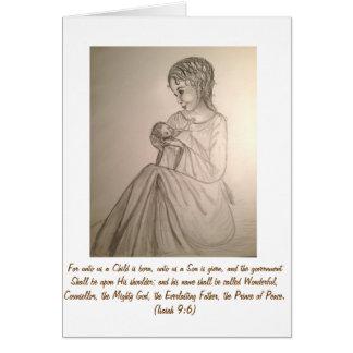 Original Art Christmas Card: Madonna and Child Card