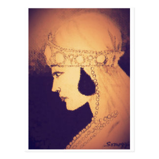 Original Art Postcard--1920's Bride/Vintage Amber Postcard