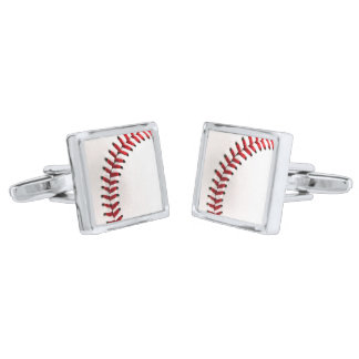 Original baseball ball silver finish cufflinks