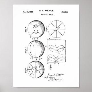 Original Basket Ball Patent, Vintage Ball Poster