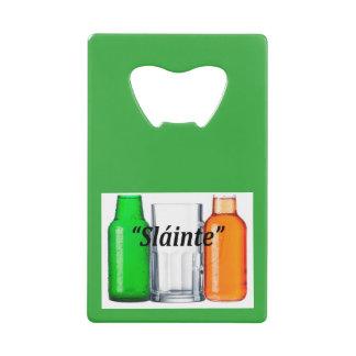 "Original beer drinking Irish flag: ""Sláinte"", Credit Card Bottle Opener"