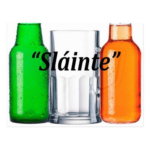 "Original beer drinking Irish flag: ""Sláinte"" Post Card"