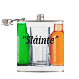 "Original beer drinking Irish flag: ""Sláinte"", Hip Flasks"