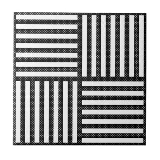Original BLACK AND WHITE DOUBLE DIAMOND PATTERN Ceramic Tile