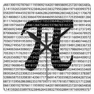 Original black number pi day mathematical symbol square wall clock