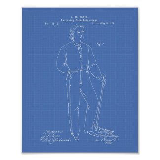 Original Blue Jeans 1873 Patent Art  Blueprint Poster