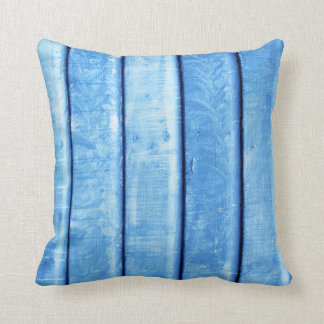 Original blue pillow with wooden pattern