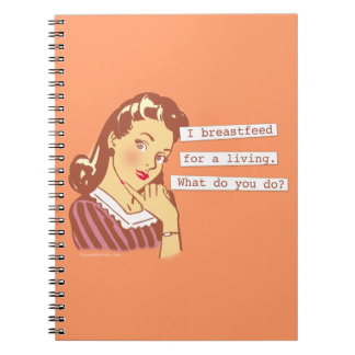 Original Breastfeed For a Living Retro Mom Humor Spiral Note Book