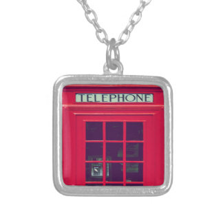 Original british phone box square pendant necklace