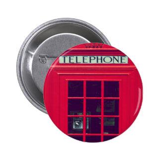 Original british red phone box 6 cm round badge