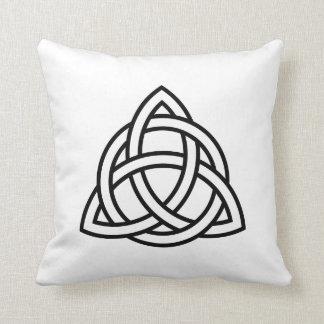 Original Celtic Triquetra Knot black icon Cushion