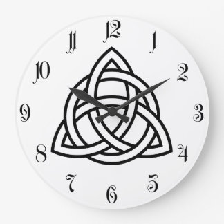 Original Celtic Triquetra Knot black icon Large Clock
