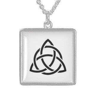 Original Celtic Triquetra Knot black icon Sterling Silver Necklace