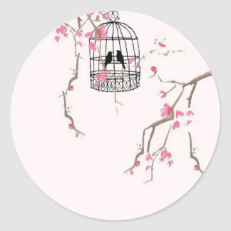 Original cherry blossom birdcage artwork classic round sticker