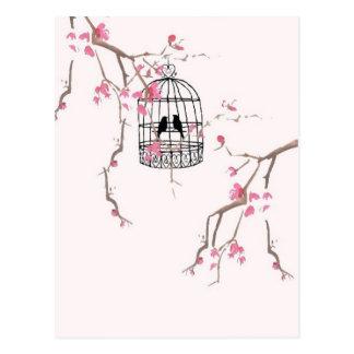 Original cherry blossom birdcage artwork postcard