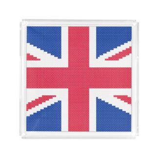 Original cross-stitch design Union Jack Acrylic Tray