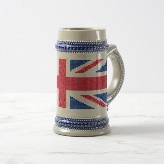 Original cross-stitch design Union Jack Beer Stein