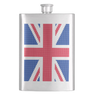 Original cross-stitch design Union Jack Hip Flask