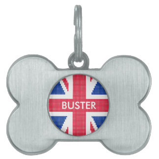 Original cross-stitch design Union Jack Pet Name Tag