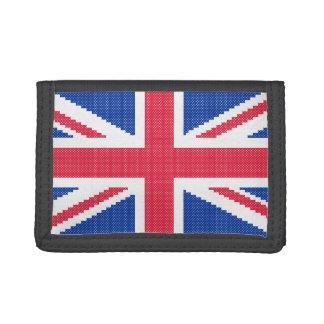 Original cross-stitch design Union Jack Trifold Wallets