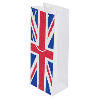 Original cross-stitch design Union Jack Wine Gift Bag