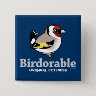 Original Cuteness European Goldfinch 15 Cm Square Badge