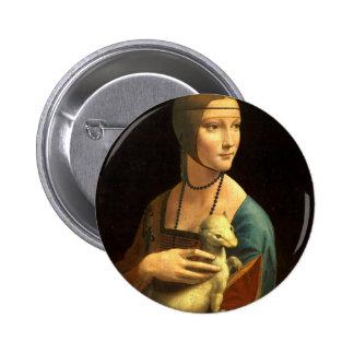 Original Da vinci's paint Lady with an Ermine 6 Cm Round Badge