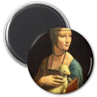Original Da vinci's paint Lady with an Ermine Magnet