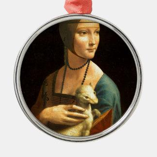 Original Da vinci's paint Lady with an Ermine Metal Ornament