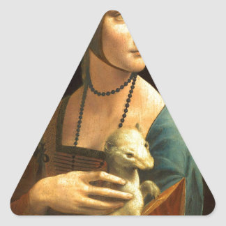 Original Da vinci's paint Lady with an Ermine Triangle Sticker