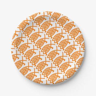 Original Darwin Fish (Light Orange) Paper Plate