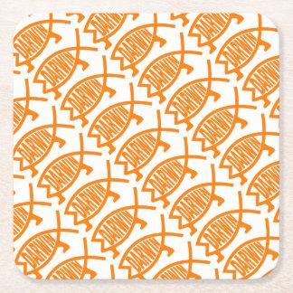 Original Darwin Fish (Light Orange) Square Paper Coaster